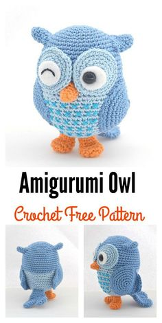 There are so many owl Amigurumi patterns out there, but these Crochet Amigurumi Owl Free Patterns are my favorites.Sweet Simple Butterfly Free Crochet Pattern and Video TutorialCute Amigurumi Crocheted Owl Pre-order by TsukiNekoAtelier on Etsy Here a Crochet Gratis, Crochet Birds, Crochet Amigurumi Free Patterns, Crochet Animal Patterns, Owl Patterns, Cute Crochet, Crochet Animals, Crocheted Flowers, Crochet Stars