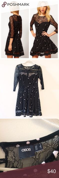 "ASOS fit flare lace & velvet dress black bow 4 Great condition, no rips or stains. Size 4 small/medium bow print dress wave sleeve detail from ASOS. Measurements laying flat; Chest- 15"", waist- 14"", length- 35"" ASOS Dresses Mini"