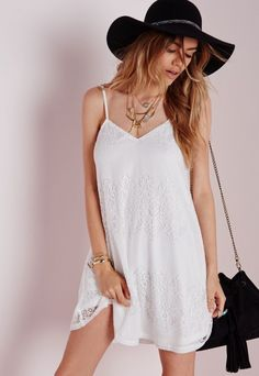 Strappy Lace Swing Dress White - Dresses - Swing Dresses - Missguided