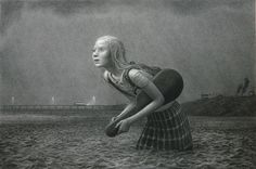 """Aron Wiesenfeld, The Lesson, charcoal on paper, 33"""" x 50"""", 2009"""
