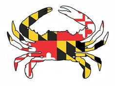 """Maryland flag crab decal sticker 5"""" x 7""""   $9.99 at College Park and Towson (208 York Rd. Towson, MD 21204)"""