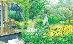 Auf einem bisher kaum genutzten Rasenbereich des Gartens direkt am Haus entstehen zwei blühende Oasen – eine zum Entspannen und eine zum Spielen. Wir präsentieren Ihnen zwei Gestaltungsideen mit Pflanzplänen zum Herunterladen und Ausdrucken.