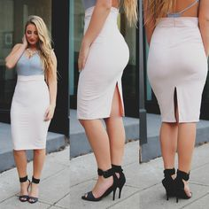 Blush Faux Suede V-cut Waist Back Slit Pencil Skirt