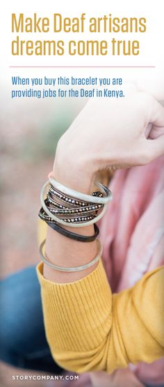 With an estimated unemployment rate of 85% among the Deaf in #Kenya, few will have an opportunity to discover their full potential or earn a fair wage. But you can change that statistic by buying this cute bracelet! It's that simple. SHOP HERE:  http://storycompany.com/sasa-bracelet.html?utm_source=PINTEREST_medium=PIN_campaign=SASAWRAP_R2