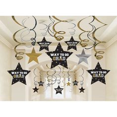 Hang decorations from the ceiling at your graduation party with this Black, Gold, and Silver Graduation Swirl Decorations. This Mega pack contains 30 hanging decorations total. Swirls measure: eight- Swirls w/Foil Cutouts, eight- Swirls w/Foil Cut Graduation Table Centerpieces, Gold Party Decorations, Balloon Decorations, Hanging Decorations, Graduation Banner, Graduation Cap Decoration, Graduation Gifts, Graduation Ideas, Graduation Backdrops
