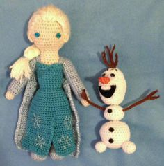 "Amigurumi dolls based on Elsa and Olaf from Disney's ""Frozen."""