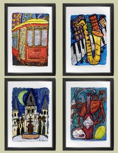 I Love NOLA series of 4 MATTED PRINTS by ellenmccordarts on Etsy, $74.95