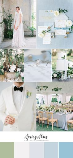 Spring Skies - Heavenly Wedding Inspiration in Soft Shades of Blue - Chic Vintage Brides Sky Blue Weddings, Lace Weddings, Country Weddings, Vintage Weddings, Wedding Vintage, Wedding Color Schemes, Wedding Colors, Chic Vintage Brides, Funny Wedding Photos