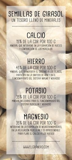 Las semillas de girasol y sus minerales..#infografia #girasol #semillas