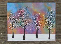 Original Acrylic Painting 4 Trees Snow Snowflakes by Deviltree