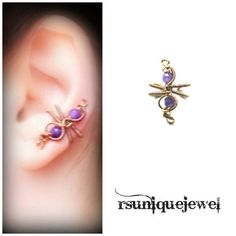 Wire Wrapped Purple Ear Cuff Gothic Earring No by rsuniquejewel