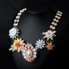 WHOLESALE FASHION JEWELRY ACCESSORIES NEW DESIGN LADY BIB STATEMENT LUXURY MIXED COLOR CRYSTAL NECKLACE COLLAR HOT