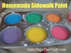 Homemade Sidewalk Paint ~ way cheaper than the store bought stuff
