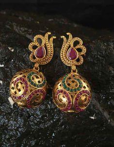 We have collection of chandbali, diamond, danglers, hoops, Korean earrings. Gold Jhumka Earrings, Fancy Earrings, Jewelry Design Earrings, Gold Earrings Designs, Gold Jewellery Design, Ear Jewelry, Antique Earrings, Jewelry Art, Beaded Jewelry