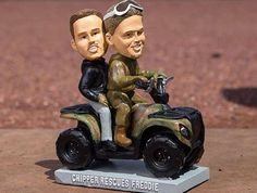 """BRAVES: CHIPPER JONES AND FREDDIE FREEMAN  -    Remember the Great Atlanta """"Blizzard"""" of 2014 that managed to bring the city to its knees with a mix of ice and snow? Freddie Freeman got stuck in it, and Chipper Jones used his ATV to save him. That hilariously cute moment was immortalized with a bobblehead, because baseball immortalizes everything with bobbleheads.   . -   Most interesting recent MLB bobbleheads  -  April 1, 2017"""