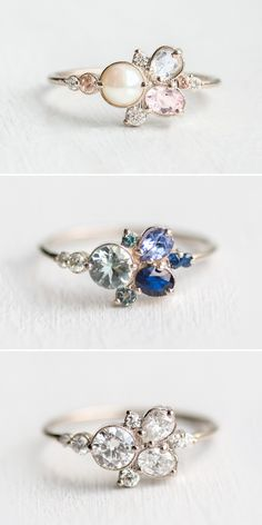 Pastel hues, jewel tones, or all diamonds? Whatever your gemstone preference, find the cluster ring of your dreams at Pink Wedding Rings, Rose Gold Engagement Ring, Vintage Engagement Rings, Vintage Rings, Wedding Band, Vintage Jewelry, 4 Diamonds, Diamond Cluster Ring, Ring Verlobung