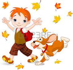 dibujos de hojas de otoño: Muchacho lindo con el perro camina a la escuela en el día de otoño