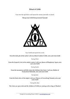 Ritual of Lilith - Temple of Ascending Flame Lilith Symbol, Lilith Sigil, Days Of Future Past, Magick, Witchcraft, Wiccan Spells, Magic Spells, Pagan, Kitty Pryde
