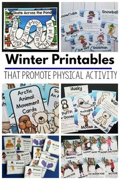 Winter Printables - That Promote Physical Activity Winter printables for kids for fitness and physical activity. A great option for a winter brain break! Fine Motor Activities For Kids, Movement Activities, Therapy Activities, Infant Activities, Kindergarten Activities, Physical Activities, Book Activities, Therapy Ideas, Winter Activities