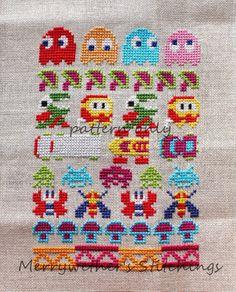 Arcade - Video Game Band Sampler Cross Stitch PATTERN.