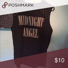 Forever 21 Muscle Tee: Midnight Angel Size: M Cut off sleeves look, studs on shoulders Tops Muscle Tees