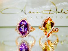 www.annedale.com Citrine and amethyst rings. Amethyst Rings, Gemstone Jewelry, Gemstones, Gems, Jewel, Jewels, Minerals, Gem