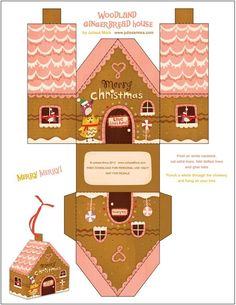 Lots of free gingerbread house printables at this site. Christmas Gingerbread, Noel Christmas, Christmas Paper, Xmas, Origami Christmas, Christmas Boxes, Paper Toys, Paper Crafts, Gingerbread House Template