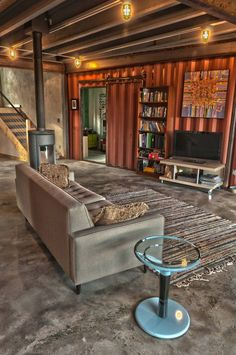 Would like to see more of project..concrete floor.  Shipping Container House deep in the mountains