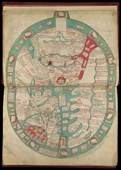 Miniature of the map of the world, at the beginning of Ranulf Higden's Polychronicon, including 39 towns, 14 of which are in England.  Origin:	England, E. (Ramsey?)