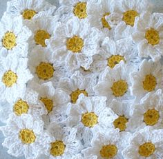 Crochet Daisy Flowers, Handmade, White, Yellow, Embellishments, Appliques - set of 16