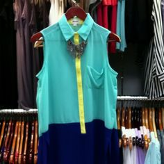 Amazing color block blouse and leafy necklace at Gloss!