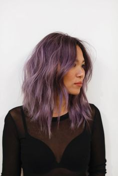 30 Brand New Ultra Trendy Purple Balayage Hair Color Ideas in 48 Colorful Dusty Lilac Hair Pinious [dot] com Silvery Purple Hair, Hair Color Purple, Hair Dye Colors, Cool Hair Color, Pastel Purple Hair, Purple Balayage, Balayage Hair Blonde, Brown Blonde Hair, Lavender Hair Colors