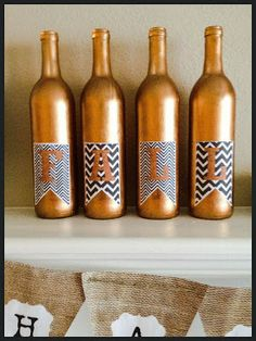 Fall Painted Wine Bottles with chevron printable.  AllThingsMelissaAnn