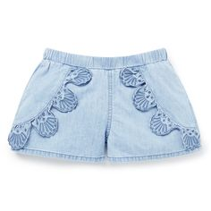 100% Cotton. Chambray shorts feature butterfly style top layer with broderie trim. Regular fitting silhouette with elasticated waist. Available in Powder Blue.
