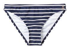 Navy and white striped bikini bottoms