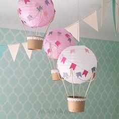 Whimsical Hot Air Balloon decoration DIY Kit - nursery decor - travel theme nursery - set of 3