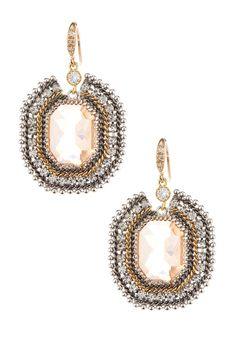 Prudence C Octagonal Crystal Drop Earrings