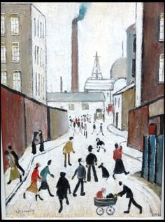 "May 2014 letter, TOO BEAUTIFUL TO PASS UP, ""Early one morning long ago, I was at my studio easel when an acquaintance."" (Image: A Street Scene Near a Factory by UK artist LS Lowry, 1961 was hidden in a suitcase. Abstract Landscape Painting, Landscape Art, Nostalgic Art, Watercolor Pictures, Winter Painting, Naive Art, Famous Artists, Lovers Art, Art Images"