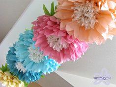 OOPSY DAISY. 5 gigantes colgando flores de papel pastel baby