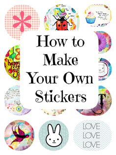 Marcia Beckett: Art Journaling and Mixed Media: How to Print Your Own Stickers U. Marcia Beckett: Art Journaling and Mixed Media: How to Print Your Own Stickers Using Picmonkey Homemade Stickers, Make Your Own Stickers, Diy Stickers, Printable Stickers, Printable Planner, Planner Stickers, Making Stickers, Printables, Design Your Own Stickers