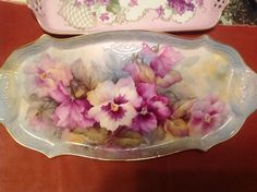 Beautiful Hand painted pansies tray signed