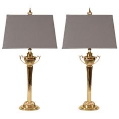 Pair of Neoclassical Brass Lamps with Custom Linen Shades in Grey | From a unique collection of antique and modern table lamps at http://www.1stdibs.com/furniture/lighting/table-lamps/