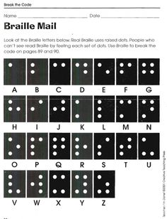 Braille Mail - Break the Code Worksheets