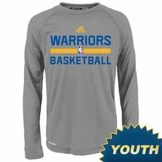 Golden State Warriors adidas Youth Long Sleeve CLIMALITE Practice Graphic  Tee - Grey Capuchas f878539cd16