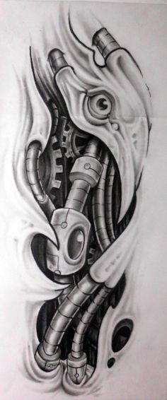 biomech tattoo design for half sleeve chest i back  to be tattooed soon