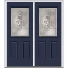 Milliken Millwork 74 in. x 81.75 in. Heirloom Master Decorative Glass 1/2 Lite Painted Fiberglass Smooth Exterior Double Door, Naval