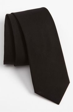$15, Black Tie: The Tie Bar Woven Cotton Tie Black Regular. Sold by Nordstrom. Click for more info: https://lookastic.com/men/shop_items/48186/redirect