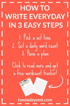 The only thing standing in the way of you writing everyday is figuring out how. I've cracked the code along with 50 other writers and now I'm sharing it with you! Click to find out how you can write everyday in 3 easy steps. Plus get a free word count tracker!