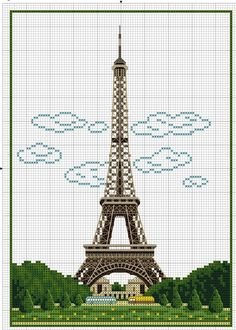 Eiffel Tower with clouds 1