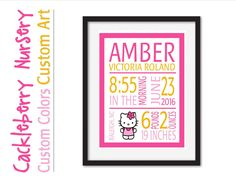 Hello Kitty Print, Baby Girl, Nursery Wall Art, Kids Room Decor, Birthday gift, Hello Kitty Decor, Hello Kitty Wall Art, Hello Kitty Poster by CackleberryNursery on Etsy https://www.etsy.com/listing/491318564/hello-kitty-print-baby-girl-nursery-wall